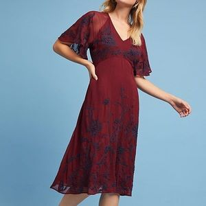 NWT Anthropologie Maeve francois embroidered dress